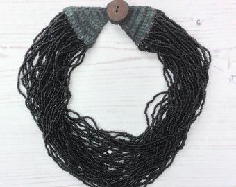 Boho beaded necklace, black beads, multi layered, ethnic chic, boho,  handmade Indian jewelry