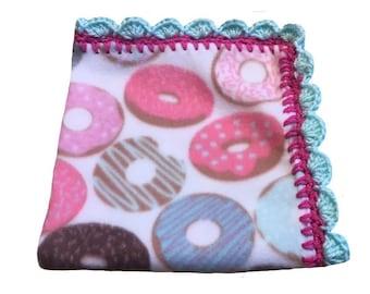 foodie gift, donut lovey security blanket, donut baby shower, donut blanket, donut baby bedding, donut nursery, donut blanket newborn