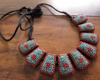 Summer Necklace/Turquoise and Coral Bib Necklace/Bohemian Necklace/Multi Color Beaded Necklace/Statement Necklace