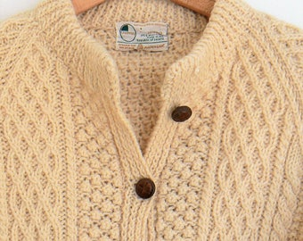 Sweaters, Cardigans, Hand Knit Wool, Irish Cable Knit Sweater, Vintage Carbery Wool Sweater, Wool Sweater, Size S