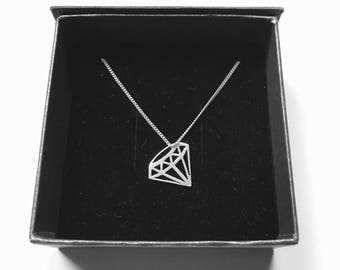 Geometric Diamond Asymmetrical Necklace