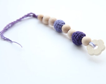 Lila small floral teething for baby. Natural wooden toy with organic cotton.