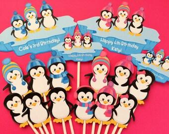Penguin cupcake toppers, 12 penguin toppers + bonus, penguin toppers, cupcake toppers penguins, penguin party supply, penguin cake topper