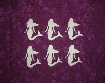 """Mermaid Shape Wood Cut Out Unfinished Wooden Mermaids 6 pieces 2.5"""" inch"""