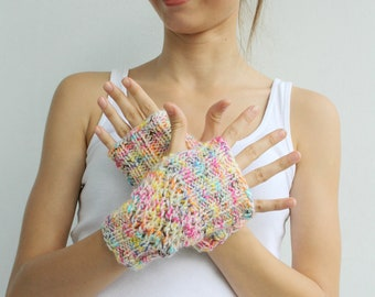 Hand Knit Colorful Fingerless Gloves, Winter Knitted Accessories Mittens