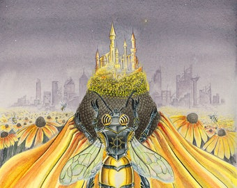 Divine Forager Original Art Print - Honey Bee - Medieval Styled Armor - Castle - Flowers - City Ruins - Fantasy - Surreal - Insect -