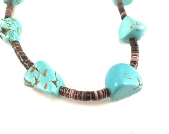 Turquoise Necklace with Dark Heishi
