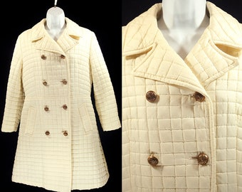 Vintage 70's WHITE BEAR Of St. Paul White Quilted Double Chested Coat M-L