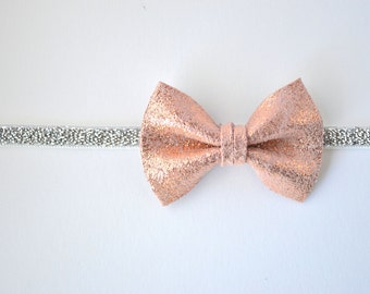 Rose Gold Metallic Leather Bow Silver Woven Elastic Headband Glitter Bow Photo Prop Headband for Newborn Baby Little Girl Child