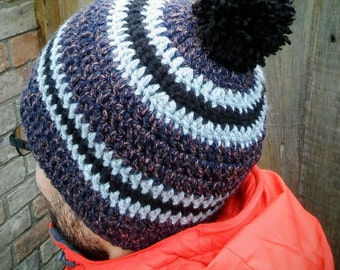 Wool Blend Beanie Hat with fleece lining for cold weather