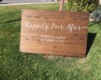 Happily Ever After Wedding Sign, Custom Wedding Sign, Custom Wedding Date and Names, Rustic Wood Wedding Sign - Sophia Collection
