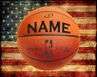 Personalized Basketball Print, Vintage USA Flag, Boys Room Decor, Gifts for Boys Man Cave Wall Art Decor #vi828
