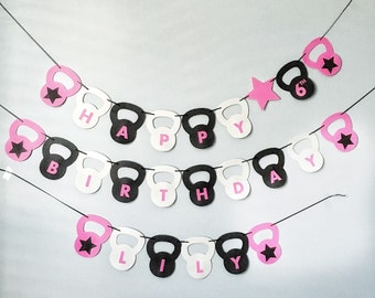 Crossfit kettle bell banner- customizable with happy birthday, kettlebell/fitness wedding or any other saying. Crossfit birthday or wedding