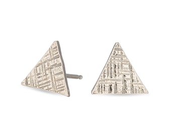 Sterling silver triangle hammered stud earrings