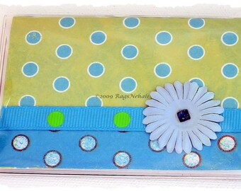 Green Turquoise blue - Polka Dots - Business \/ Debit \/ Credit Card Case \/ Wallet \/ Holder \/ Cover