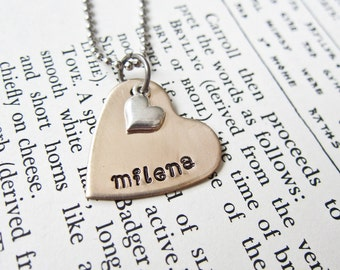 Hand Stamped Heart Necklace with Sterling Silver Tiny Heart Charm - Custom Name Mother Pendant in Bronze or Copper