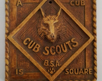 Vintage 1950's  Syroco Cub Scouts plaques, A Cub Scout is Square, Cub Scout Promise, Boy Scouts of America C2