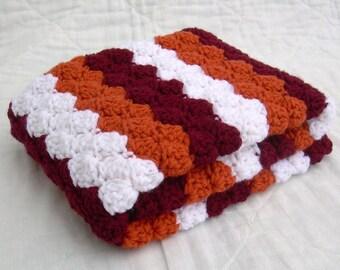Crochet Baby Blanket, Baby Blanket, Crochet Virginia Tech Baby Blanket, Hokies, maroon, orange, and white VT afghan, travel size