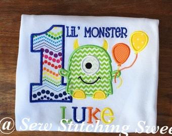 Monster Birthday Shirt, Personalized Monster Birthday Shirt, First Birthday Shirt, Little Monster Birthday Shirt, First Birthday Party