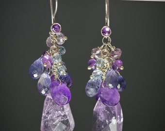Sterling Silver Cluster Drop earring with Amethyst