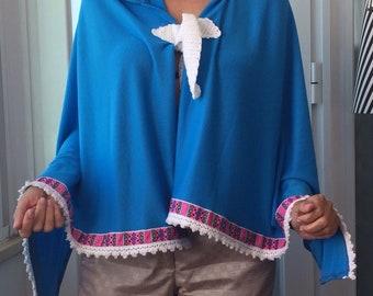 Summer blue poncho