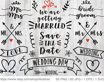 93 wedding clipart, photo overlays, digital clip art, hand drawn doodle, wedding invitation, commercial use, PNG, EPS, SVG, instant download