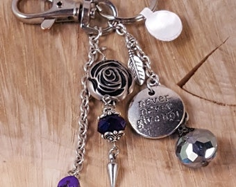 Never Never Give Up Bag Embellishment / Key Chain