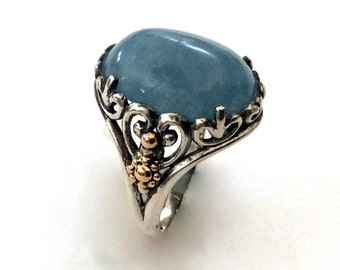 Aquamarine ring, Cocktail Ring, sterling silver ring, silver yellow gold ring, statement ring, gemstone ring, oxidized - Spring time.R2165