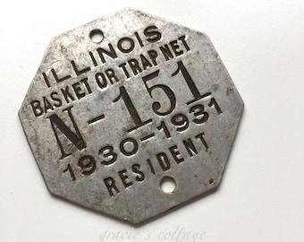 1930 -31 Trap Tag Illinois N - 151 Vintage  Basket or Trap Net Resident Tag