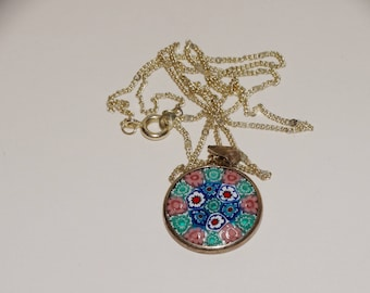 800 Sterlingg Silver Stamped Handmade Murano Glass Necklace.
