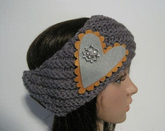 Grey Knit Ear Warmer Headband Head Wrap Winter Hats with a Felt Grey and Mustard Heart and Rhinestone Accent