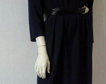 90s Navy-Blue Dress With Pockets / Midi Length / Vintage Dress / Minimalist / Women's Dress