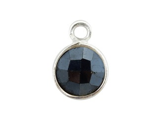 Mystic Coated Black Spinal Station Round Pendant - 6mm Sterling Silver Bezel Charm Pendant (S52B18-18)
