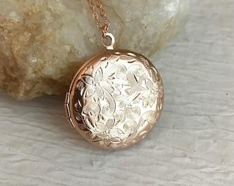 Rose Gold Floral Locket Rose Gold Filled Locket Necklace