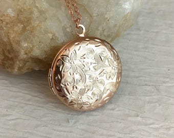 Small Rose Gold Locket Necklace, bridesmaid gift, embossed locket, vintage style locket, photo locket, rose gold jewelry, romantic gift