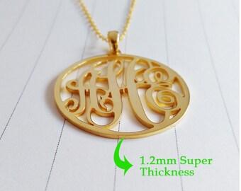 "1.5"" inch Personalized Monogram Necklace,Monogrammed Gifts,Gold Monogram Necklace,3 Initial Monogram Necklace,Custom Initial Jewelry"