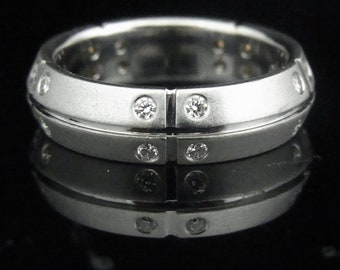 Tiffany & Co Stream America Diamond 18k White Gold Ring Band Estate Signed LAYAWAY AVAILABLE
