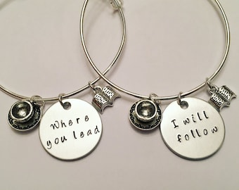 Where You Lead I Will Follow Rory Gilmore Lorelai Gilmore Girls BFFS Sisters Girlfriends Mother Daughter Adjustable Charm Bangle Bracelets