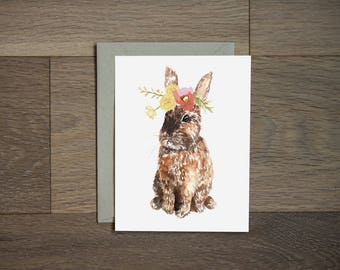 Bunny card - greeting card - flowers - spring - easter gift - spring stationery - rabbit art