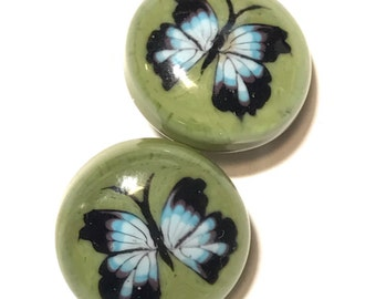 Butterfly, Lampwork Glass Paperweight Studio Button 22mm