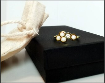 Gold Honeycomb Ring - Polymer Fills