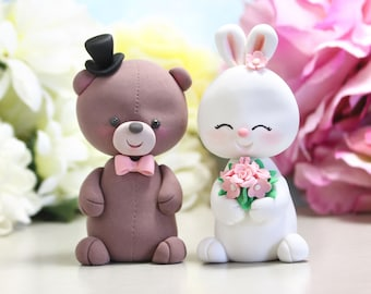 Bear and Bunny Rabbit wedding cake toppers - funny unique bride groom figurines wedding gift personalized brown white pink