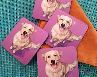 Colorful Golden Retriever Coasters, Housewarming Gift for Golden Retriever Lover, Pop Kitchen and Barware, Colorful Retriever Puppy Coasters