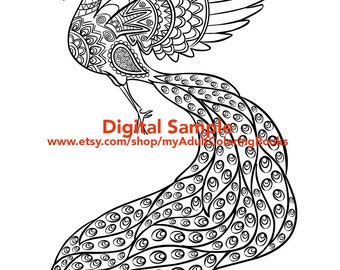 Peacock Coloring Page for Adults Peacock Adult Coloring Page