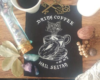 Drink Coffee, Hail Seitan patch - Witch patch - Punk Patch - Vegan Patch - Sew-on patch