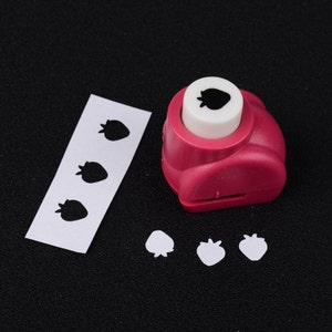 """Strawberry - Mini Plastic Craft Punch for Scrapbooking & Paper Crafts - 3/8"""" - Sold individually"""