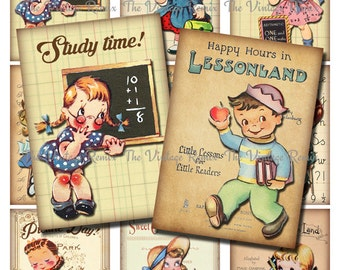 Printable School Scrapbook Images, Instant Download, Digital Collage Sheet, Retro-Vintage School Children, atc/aceo sized.