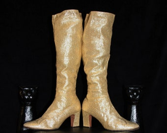Heart of Gold-60's Gold Lame Fabric Pull-On Knee High Go-Go Boots