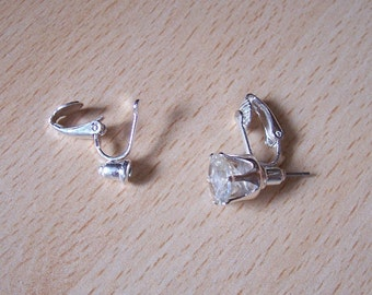 Pierced post to clip-on earrings converters findings - silver or gold - 2-10 pairs