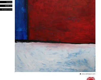 FreeShipping, Squares Contemporary Abstract Art, Acrylic Painting, Red Blue White, Original Painting, Carlos Pun Art